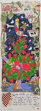 Francesco Musante - Sono salito sul grande albero dei Cuori nato nel Golfo dei Poeti per raccogliere il tuo e portarlo via con me cm 17x50