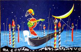 """Meloniski da Villacidro """"Serenata veneziana per mandolino"""" cm 11x17,5"""
