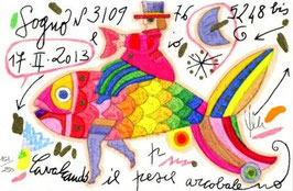 Francesco Musante - Cavalcando il pesce arcobaleno cm 10x15