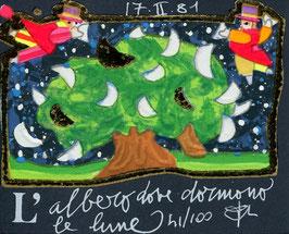 Francesco Musante  - L'albero dove dormono le lune - cm 8x10 blu