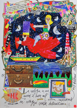 Francesco Musante - La valigia in una mano, il cuore nell'altra, iniziamo un viaggio senza destinazione cm 25x35 bianco