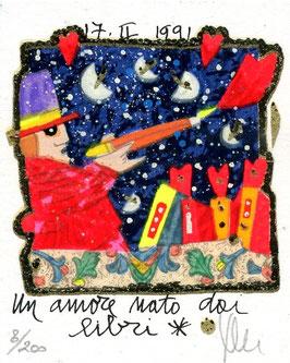 Francesco Musante - Un amore nato dai libri - cm 8x10 bianco
