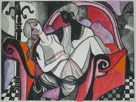 """Lucio Ranucci """"Il divano rosso"""" cm 70x50"""