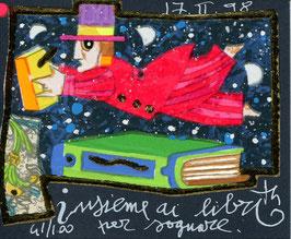 Francesco Musante - Insieme ai libri per sognare - cm 8x10 blu