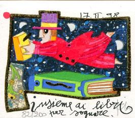 Francesco Musante - Insieme ai libri per sognare - cm 8x10 bianco