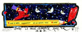 """Francesco Musante """"Solo il mio amore per te"""" cm 6x15 su cartoncino bianco"""