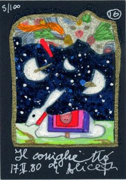 """Francesco Musante """"Il coniglietto di Alice"""" cm 7x10 blu"""