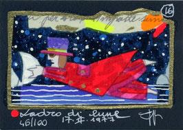 """Francesco Musante """"Ladro di lune"""" cm 7x10 blu"""