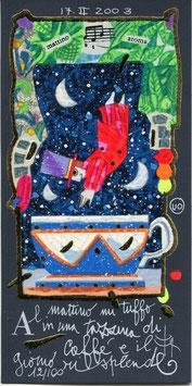 Francesco Musante - Al mattino mi tuffo in una tazzina di caffè e il giorno risplende cm 10x20 blu