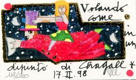 Francesco Musante - Volando come in un dipinto di Chagall - cm 6x10 su cartoncino bianco