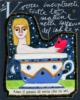 Francesco Musante - Vorrei incontrarti tutte le mattine nella tazzina di caffè, cm 8x10 blu
