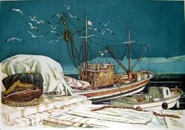 """Giovanni Battista De Andreis """"I gabbiani del porto"""" cm 50x70"""