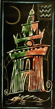 """Stefano Ramunno """"Milano - Torre del Filarete"""" cm 18,5x28,5"""