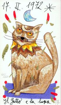 Francesco Musante - Il gatto e la luna cm 10x17 bianco