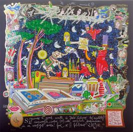 Francesco Musante - Le città invisibili - Seguendo le parole scritte di Italo Calvino ho visitato le cinquantacinque (55) città invisibili perdendomi in un viaggio senza fine cm 50x50 blu