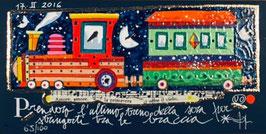 Francesco Musante - Prenderò l'ultimo treno della sera per stringerti tra le braccia cm 10x20 blu