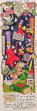 Francesco Musante - Come in una poesia di Gianni Rodari ho visto il trenino correre sulle nuvole e l'elefante ballare sui libri, ma questa è solo fantasia - cm 17x50