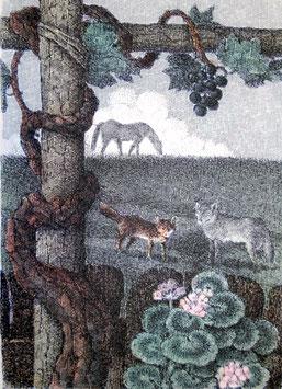 """Enzo Bellini """"La volpe, il lupo e il cavallo"""" cm 50x70"""