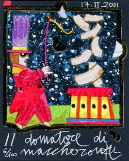 Francesco Musante - Il domatore di maccheroni cm 8x10 blu