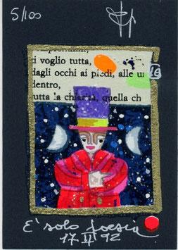 "Francesco Musante ""È solo poesia"" cm 7x10 blu"