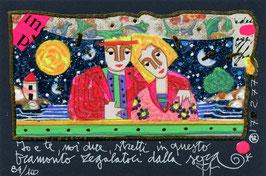 Francesco Musante - Io e te, noi due, stretti in questo tramonto regalatoci dalla sera cm 10x15 blu