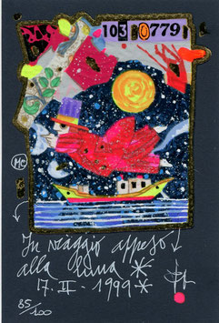 Francesco Musante - In viaggio appeso alla luna cm 10x15 blu