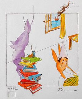 """Stefano Ramunno """"Pinocchio e il grillo parlante"""" cm 25x35"""