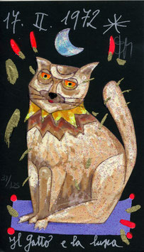 Francesco Musante - Il gatto e la luna cm 10x17 nero