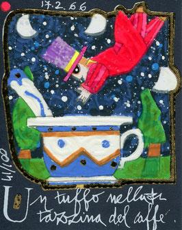 Francesco Musante - Un tuffo nella tazzina del caffè - cm 8x10 blu