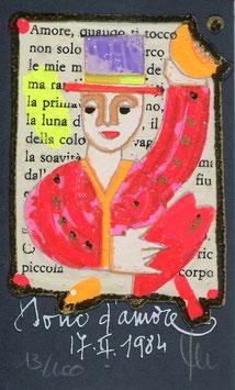 "Francesco Musante ""Dono d'amore"" cm 6x10 blu"
