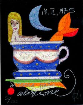 """Francesco Musante """"Sirena a colazione"""" cm 8x10 su cartoncino nero"""