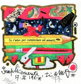 "Francesco Musante ""Semplicemente ti amo"" cm 10x10 su cartoncino bianco"