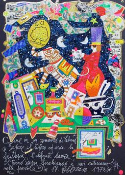 Francesco Musante - Come in un romanzo di Calvino si apre il libro ed esce la fantasia, l'elefante danza, il treno passa fischiando e noi entriamo nelle parole cm 25x35 blu
