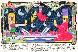 Francesco Musante - Un brindisi, due spaghetti, la musica di Paolo Conte e la magia del nostro amore cm 20x30 bianco
