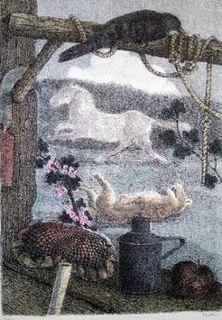 """Enzo Bellini """"Il cavallo e il lupo"""" cm 50x70"""