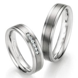 Ringen Staal Titanium en Briljant CR-ST2