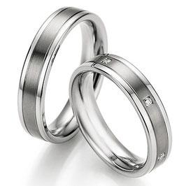 Ringen Staal Titanium en Briljant CR-ST4