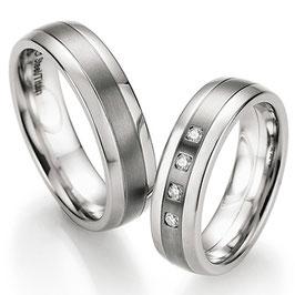 Ringen Staal Titanium en Briljant CR-ST9