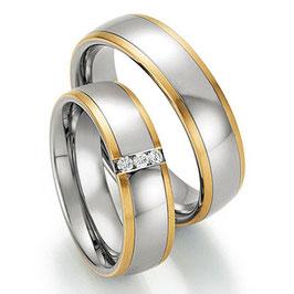 Ringen Staal Goud en Briljant CR-SGS7