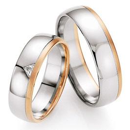 Ringen Bicolor goud en Briljant CR-HSD6
