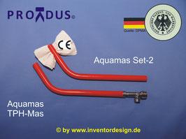 PREMIUM Set-2, Aquamas Analabdusch-Handbrause mit Wasserstrahlklistier (Anorektale Hydrotherapie) und Toilettenpapierhalter zum trocken tupfen (nicht reiben!) Für Zuhause und Urlaub/Hotel.