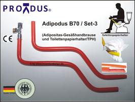 PREMIUM Set-3, Adipodus B60 oder B70. Adipositas Spezial-Gesäßhandbrause für die selbstständige Gesäßreinigung mit Wasserstrahlklistierfunktion (Anorektale Hydrotherapie). Für Zuhause und auf Reisen.
