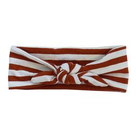 Haarband strik streep roest-wit