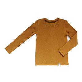NIEUW - Shirt dunne rib camel lange mouw