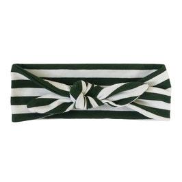 Haarband strik streep groen-wit
