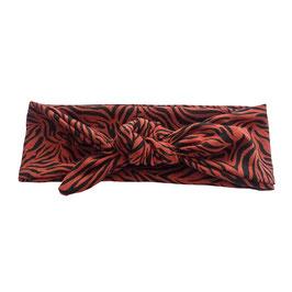 Haarband strik tijger roest