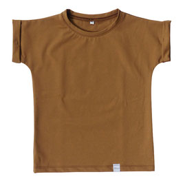 Shirt opgerolde mouw bruin
