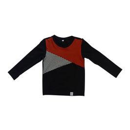 Shirt 3-vlaks zwart-blok-roest