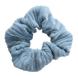 Scrunchie brede rib lichtblauw