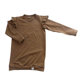 Sweaterdress ruffle bruin